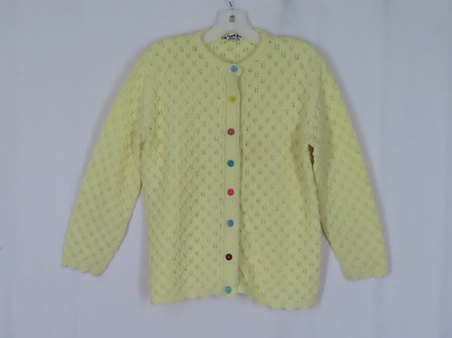 Vintage Cuddle Knit Cardigan M Yellow Lace Knit Unmatched Buttons
