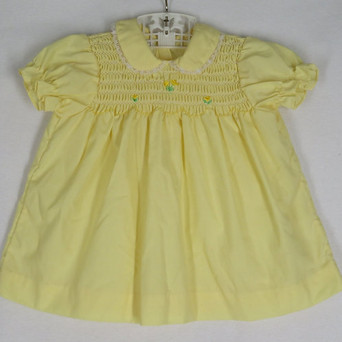 Vintage 80s Smocked Yellow Baby Dress Sz 6/9 mo