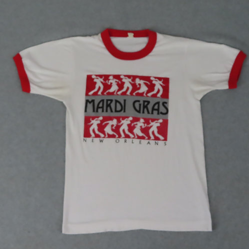 Vintage white and red ringer tee with Mardi Gras graphic