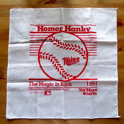 Vintage Minnesota Twins Home Run Hanky 1991