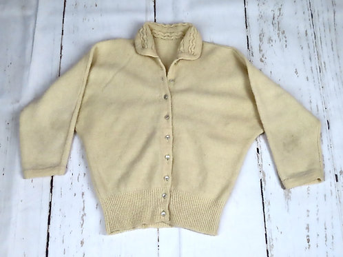 Vintage 50s Pinup Sweater S Cream Wool Blend Dolman Sleeves Button Front