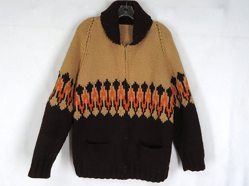 Vintage 70s zip front hand knit wool cardigan sweater