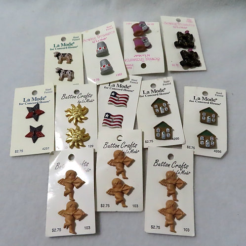 Lot 12 sets novelty buttons- shapes and figures