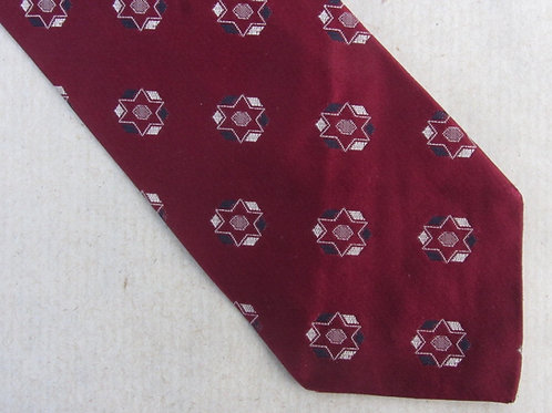 Red Sateen Silk Tie A Sulka Necktie Star Brocade