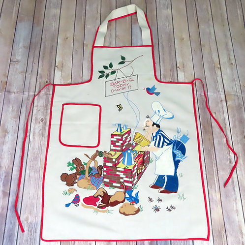 Vintage white apron with red binding a barbecue scene