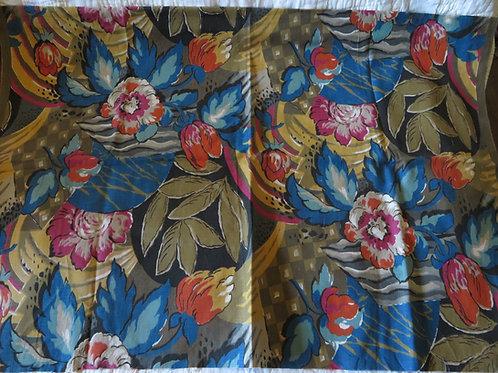 Vintage 30s Art Deco print fabric in dark rich floral print