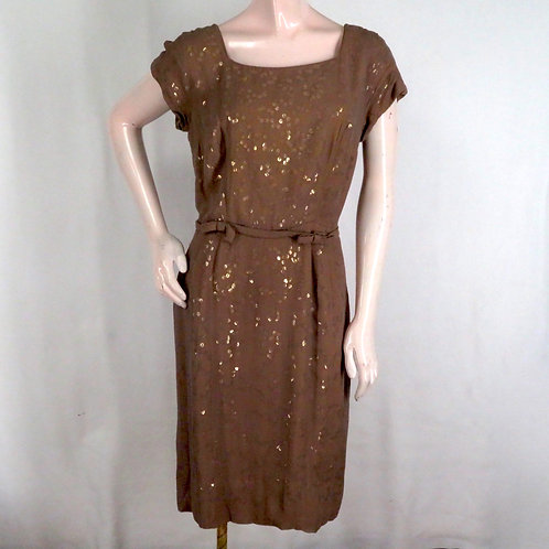 Vintage brown sequined cocktail dress with square neckline