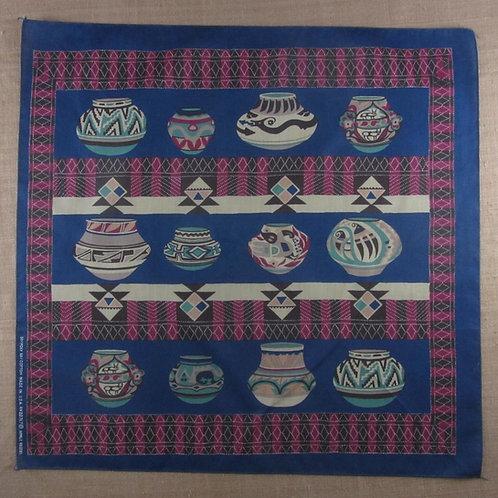 Vintage blue bandana with southwestern pottery print