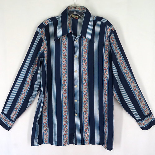 Vintage Levis For Men dark blue striped shirt from the 1970s