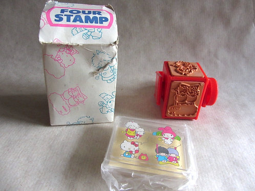 Vintage Hello Kitty cube-style stamp and ink pad dated 1976