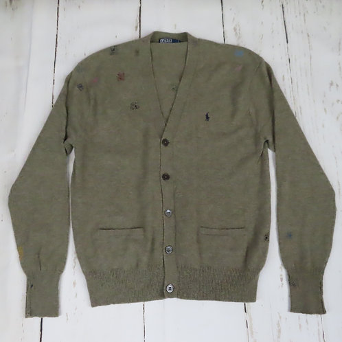 Vintage Ralph Lauren cardigan sweater that's been repaired with hand sewn visible mends
