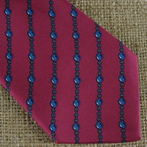 Vintage Hermes Necktie Red Silk 7057 TA Blue Chain Print France