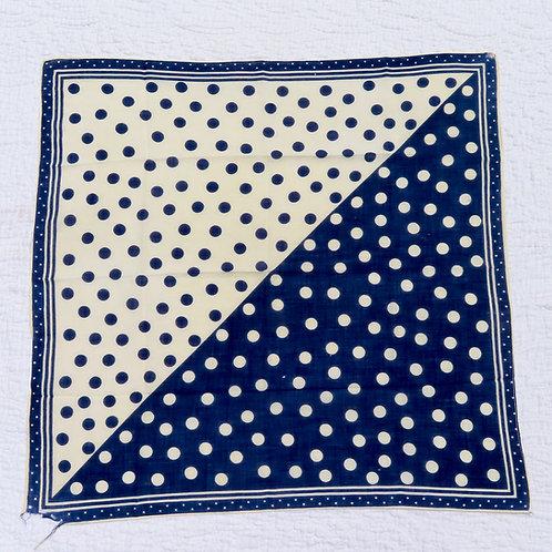 Off white and blue polka dot bandana scarf