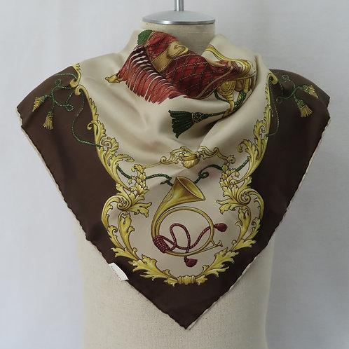 NWT Vintage Echo Silk Scarf The Hunt Equestrian Print
