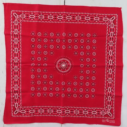 Vintage elephant brand red bandana with white geometric border print