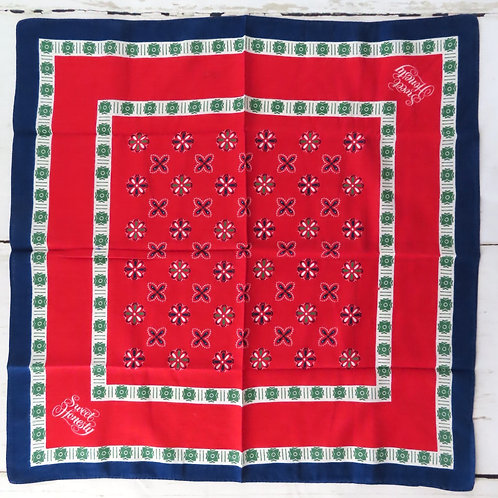 Vintage red, blue, green and white bandana for Sweet Honesty by Avon