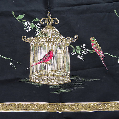 Vintage black fabric with parakeets and bird cage by John Wolf