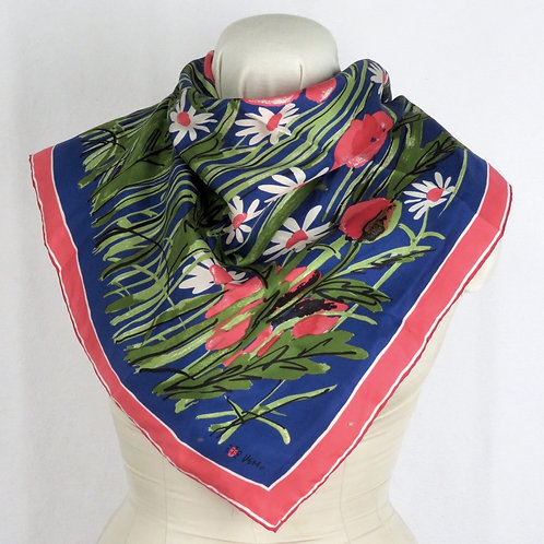 Vintage blue and pink floral print scarf by Vera shown draped on mannequin