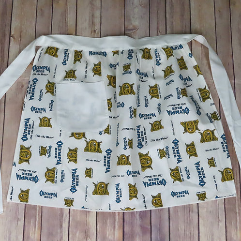 White cotton gathered waist apron with Olympia beer 'it's the water' print