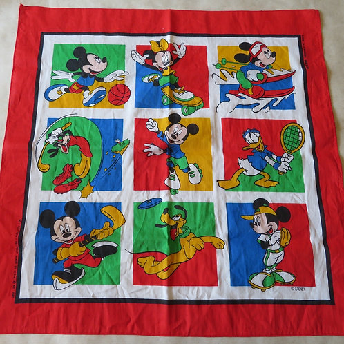 Vintage bandana with Mickey and Friends with images of Disney characters as kids
