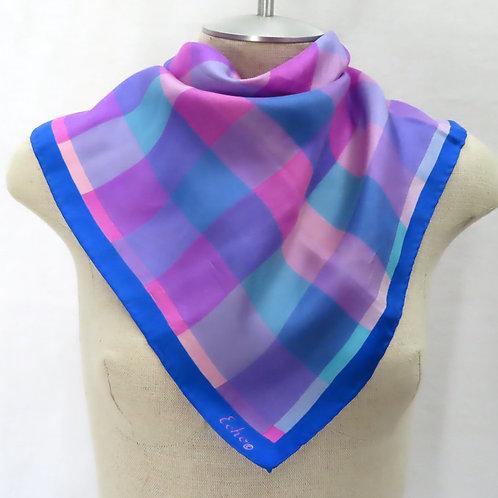 Echo purple plaid silk scarf on mannequin