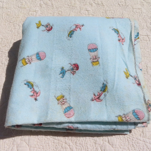 Vintage flannel fabric with birds carrying small kwaii animals