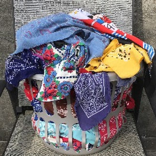 lot of vintage bandanas in a laundry basket