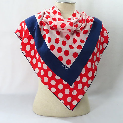 Vintage Bill Blass polka dot scarf shown on mannequin