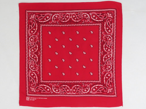 Vintage 90s red bandana with paisley print border and small paisley motifs in the center
