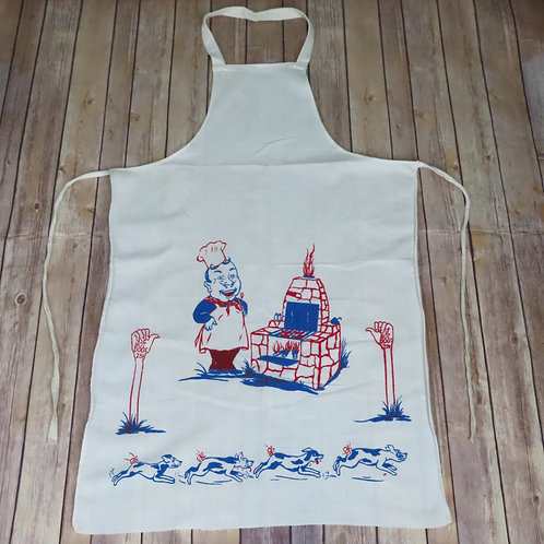 White full apron with red and blue image of a man with bbq pit and dogs running away