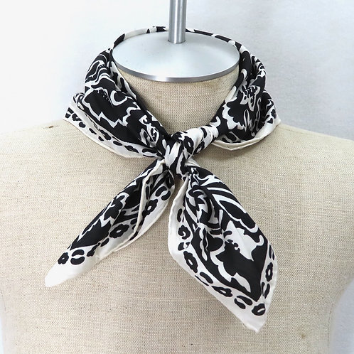 Vintage black and white silk floral scarf