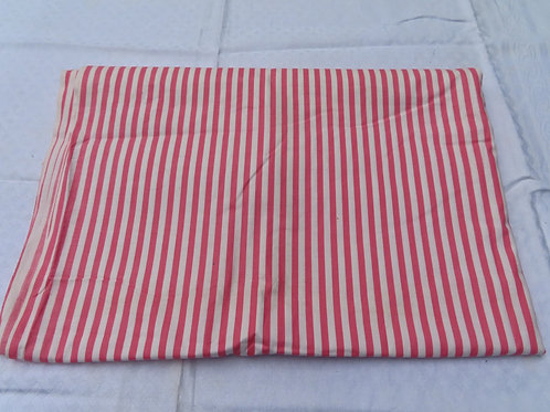 Vintage pink and white striped cotton fabric