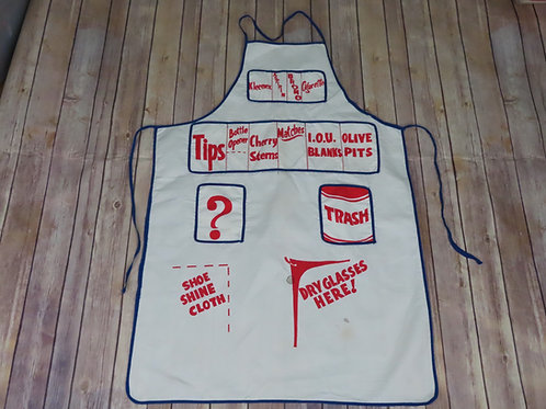 Vintage white apron with red print bartender or bartending theme