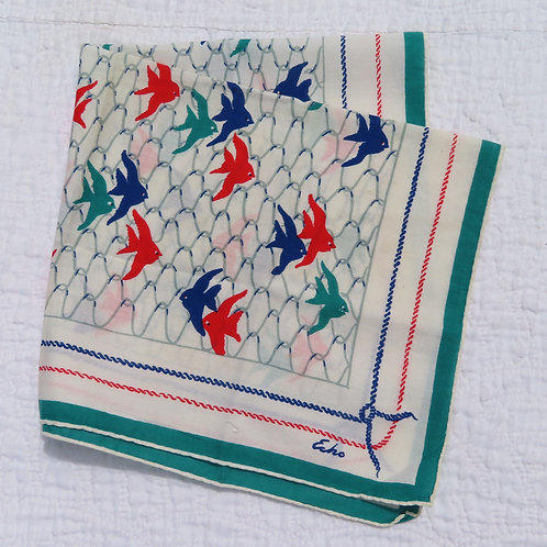 White blue red and green cotton bandana scarf by echo