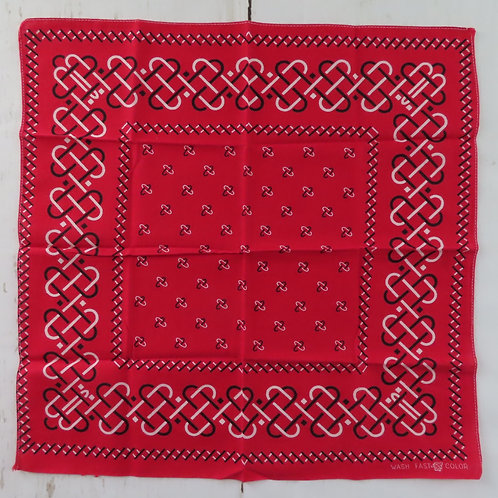 Vintage square red bandana with white and black Celtic inspired border