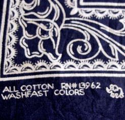 vintage bandana with RN and elephant brand logo