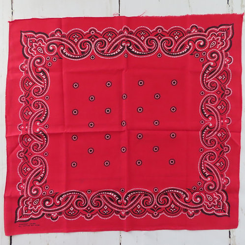 Vintage red bandana is square with a white and black stylized paisley print