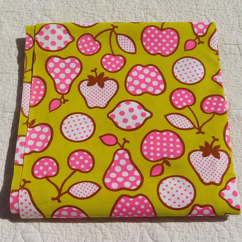 Vintage 70s chartreuse fabric with pink and white patchwork fruit print