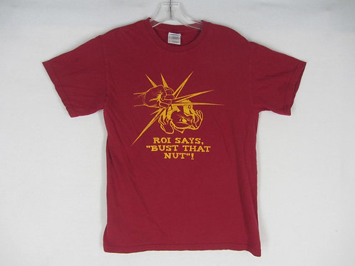 Vintage red tee with yellow text- ROI says Bust That Nut!
