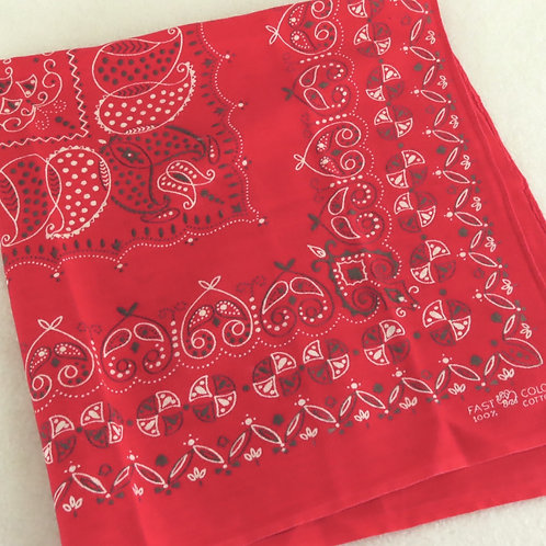 Vintage red elephant brand bandana, folded into a square