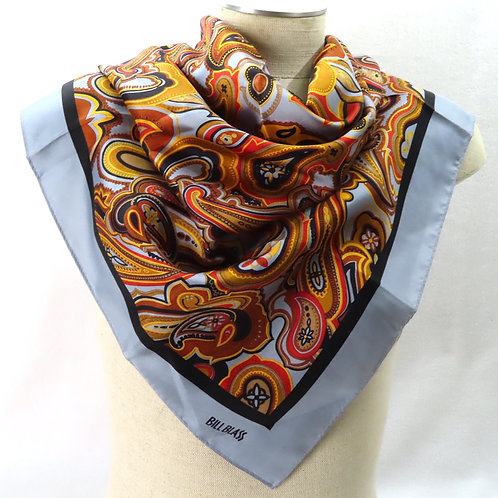 Vintage Bill Blass paisley scarf on mannequin