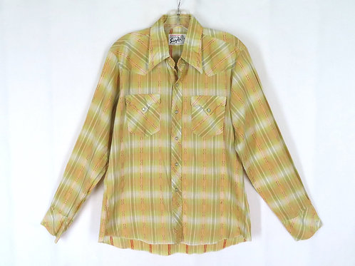 Vintage 70s Yellow Woven Shadow Plaid Western Shirt L Stamped Snaps Sandy Kid