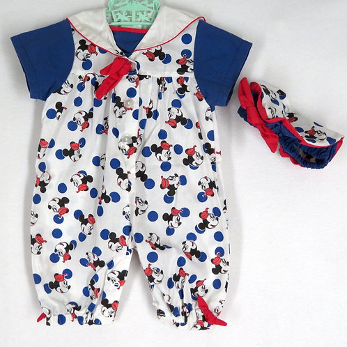 Vintage Baby Minnie Disney full length sailor romper and beret