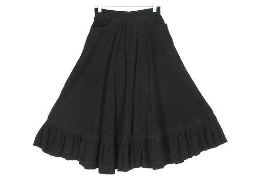 vintage black prairie style skirt with pockets