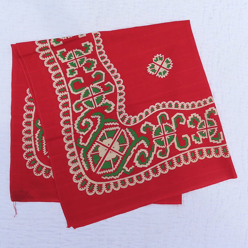 Antique red bandana with green and beige print