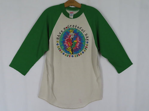 Green and white baseball tee with Grateful Dead graphic center front