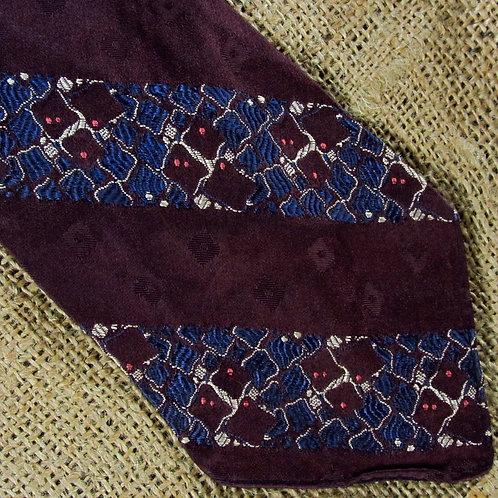 Vintage 30s Necktie Red Blue Brocade Hollyvogue Tie