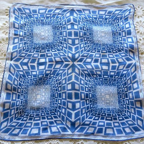 Vintage Faith Austin  Blue White Op Art Handkerchief