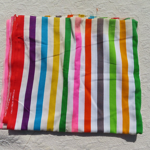 Vintage Rainbow Stripe Fabric Sportweight Ribbed Cotton