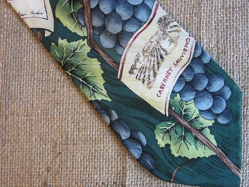 Vintage RM Style Tie Grapes Wine Labels Ralph Marlin Necktie 1996